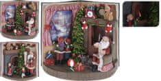 Koopman Vánoční scenérie otevřená 24 cm kniha Santa u krbu 2