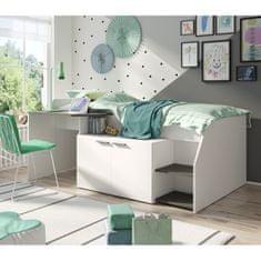 Kombinovaná posteľ, biela/grafit tmavosivá, SOME