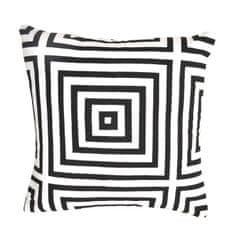 Vankúš, čierna/biela/vzor pásik, 45x45, NOVEL TYP 1