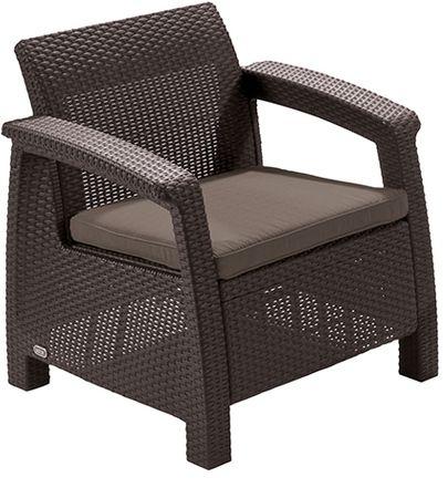 Allibert krzesło z poduszką CORFU - brązowe + szaro-brązowa poduszka