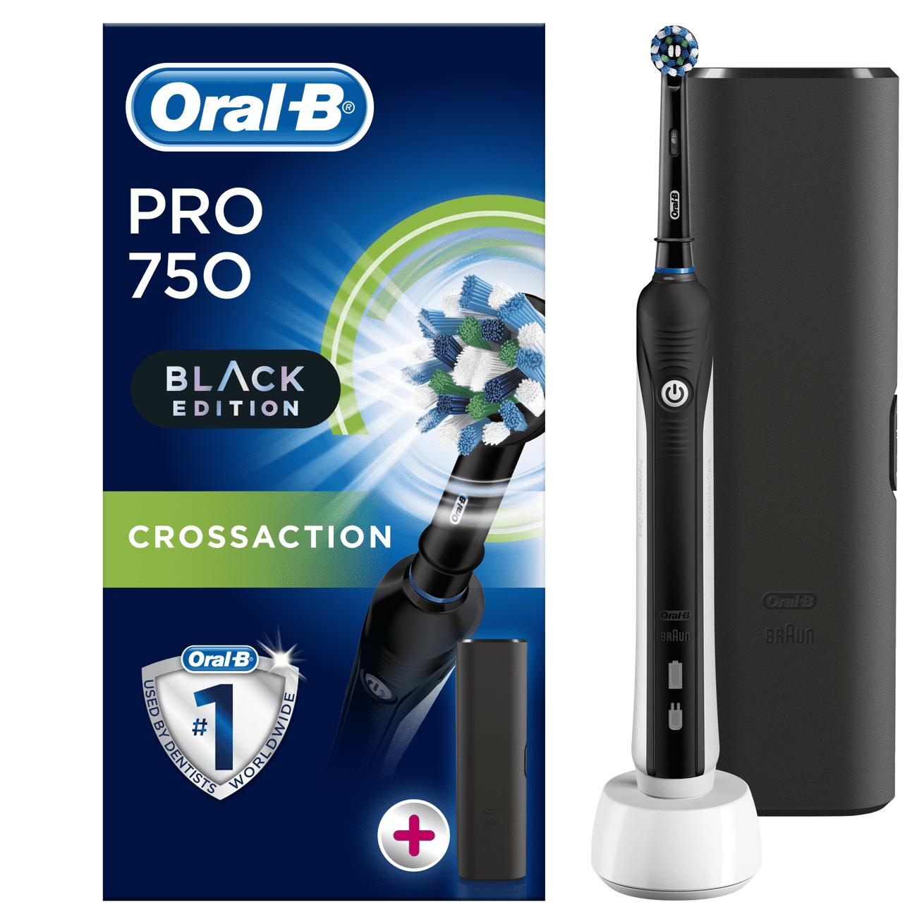 Oral-B Pro 750 Cross Action Black Edition + Travel Case 100% helyzetérzékelés