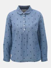 Brakeburn modrá pruhovaná dámská halenka s drobnou výšivkou