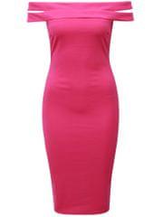 AX Paris tmavě růžové pouzdrové šaty s odhalenými rameny