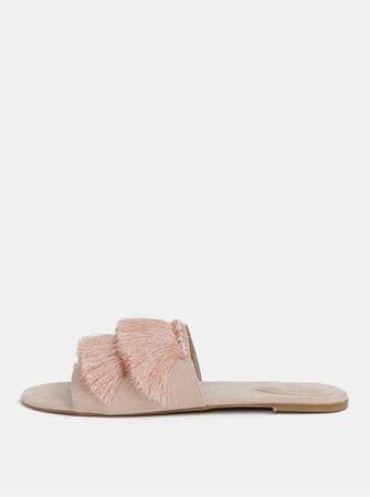 MISSGUIDED světle růžové pantofle v semišové úpravě s třásněmi  40