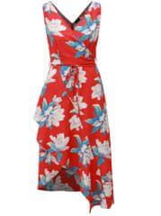 AX Paris červené květované asymetrické šaty