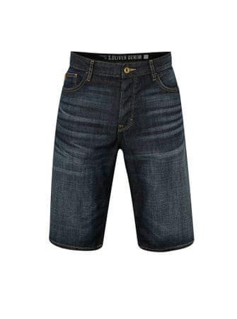 s.Oliver tmavě modré pánské džínové regular fit kraťasy vyšisovaným efektem S