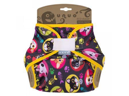 Unuo Szárnyak nélküli felső pelenka lányoknak Macska/kutya, gumis, sárga