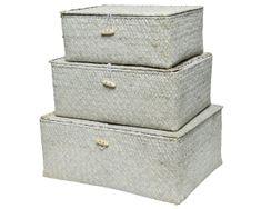 Kaemingk Set 3 ks úložných boxů, přírodní