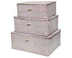 Kaemingk Set 3 ks úložných boxů, sv. růžová