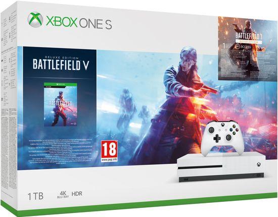 Microsoft Xbox One S 1TB + Battlefield V Deluxe Edition - zánovní