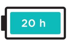 Extrémně dlouhá výdrž baterie, 20 hodin.