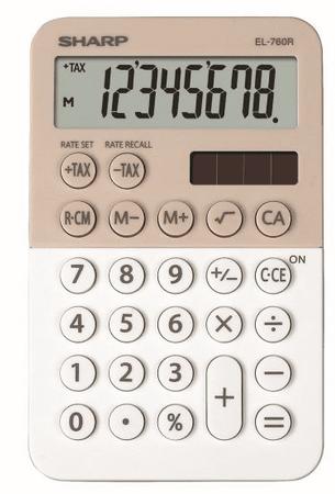 Sharp kalkulator EL760RBLA, namizni, 8-mestni, krem