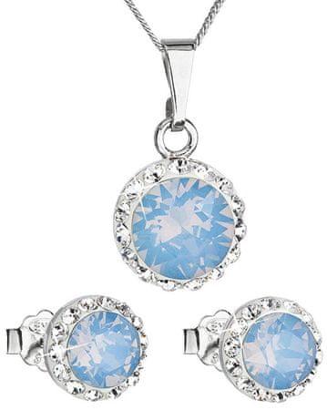 Evolution Group Svetleč set 39152.7 modri opal (uhani, veriga, obesek) srebro 925/1000