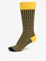 Happy Socks modro-žluté vysoké vzorované unisex ponožky Dressed Basket Weave