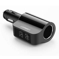 Ugreen 2x USB Ports auto punjač 3.4A + 12V povezivanje, crni