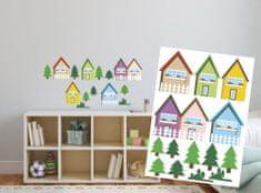 Dimex Dekoračné nálepky na stenu Domčeky farebné - 50 x 70 cm