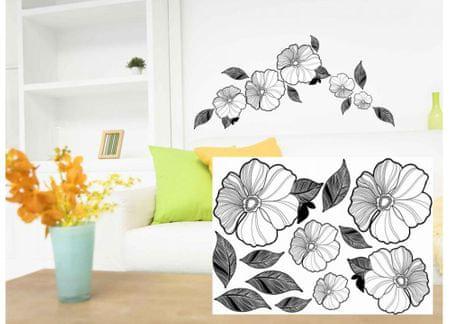 Dimex Dekoračné nálepky na stenu Kvety čierno-biele - 50 x 70 cm