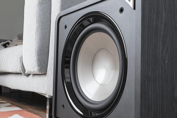 basový reproduktor subwoofer Polk Audio HTS 12 400 W zesilovač lfe rca vstupy zaoblené rohy design