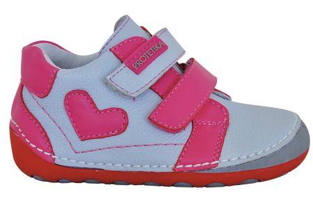 Protetika dívčí kotníkové barefoot boty Pony 21 sivá