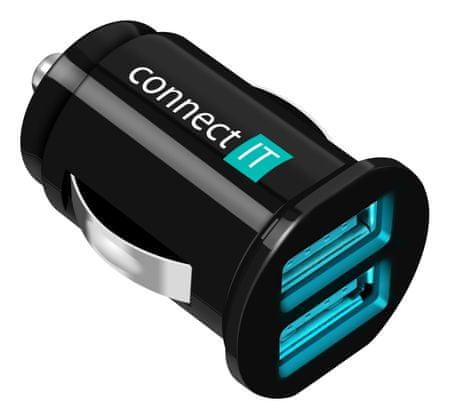 Connect IT autonabíječka, 2x USB, 2,1 A + 1 A, černá