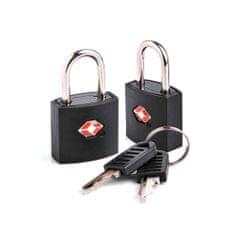 TravelBlue TSA odobrena ključavnica črna, 2 v kompletu