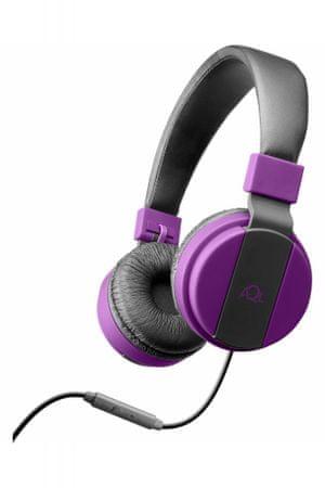 CellularLine naglavne slušalice s mikrofonom Chroma, ljubičaste