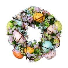 Seizis Koszorú virágokkal és tojásokkal, színes 24cm