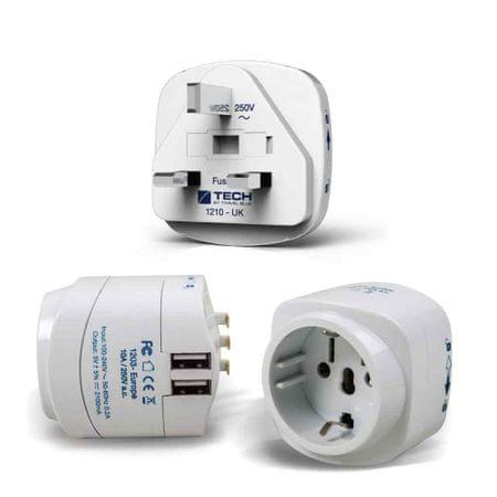TravelBlue potovalni adapter za VB z dvema USB polnilcema