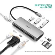 Ugreen type C multifunkcijski USB hub, sivi