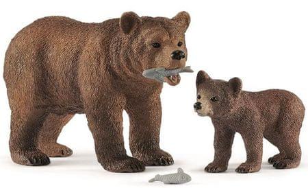 Schleich Grizzli medve és kicsinye