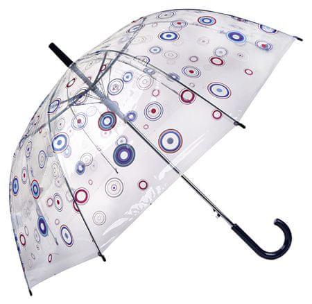 65123dc6b Dámsky priehľadný palicový dáždnik Basics Clear Circles 12036 Blue ...