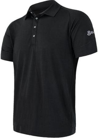 Sensor Merino Active Męska Koszulka Polo z krótkim rękawem, czarna, L