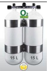 """EUROCYLINDER Lahev """"dvojče"""" 2 x 15 L 230 bar s manifoldem a obručemi"""