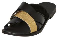 Pieces Dámské pantofle Cari Leather Sandal Black
