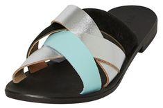 Pieces Dámské pantofle Cari Leather Sandal Silver