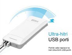 Promate prenosna baterija Power Bank, 20.800 mAh, belo/srebrna