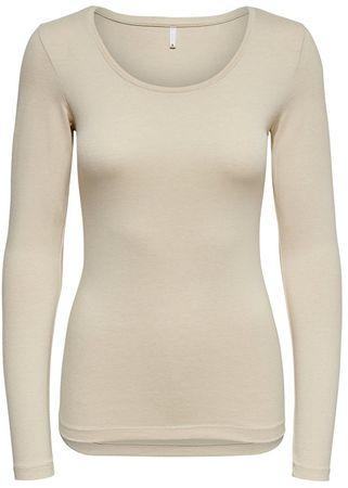 ONLY T-shirt damski na Live Love New Ls O-neck Top Noos Oatmeal Melange (rozmiar XS)