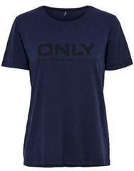ONLY Koszulka damska Logo Slub Dnm Tee Dark BlueDenim