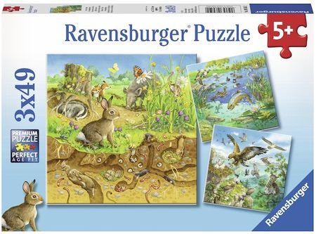 Ravensburger sestavljanka Živali v naravi, 3x49 kosov
