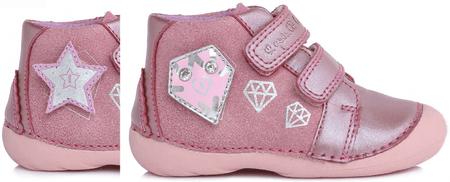 D-D-step kislány bokacipő cserélhető applikációval 20 rózsaszín