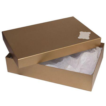 Giftisimo Dárková krabice se jmenovkou a hedvábným papírem - Sabina, zlatá