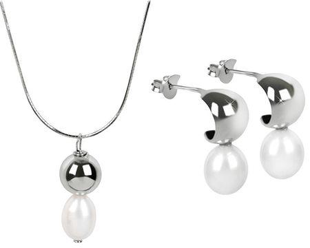 JwL Luxury Pearls JL0335 és JL0336 kedvezményes gyöngy ékszerkészlet ezüst 925/1000