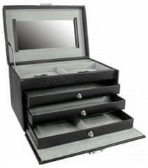 Friedrich Lederwaren Pudełko z biżuterią czarne / szare Jolie 23256-21