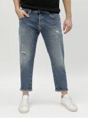Selected Homme modré džíny se záplatou Cropped
