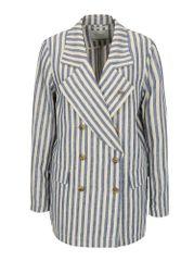 Scotch & Soda modro-béžové pruhované lněné sako s broží ve stříbrné barvě