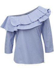 Rich & Royal bílo-modrá pruhovaná halenka s odhaleným ramenem