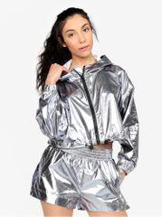 Ivy Park šusťáková krátká bunda ve stříbrné barvě