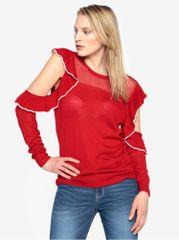 French Connection červený svetr s průstřihy na ramenou a volánky Lois