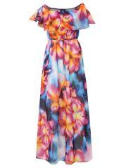 Dorothy Perkins modro-růžové maxišaty s volánem a páskem