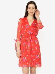 Vero Moda červené květované šaty s 3/4 rukávem Lili mini